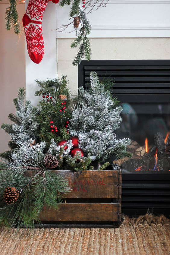 decoracion-navideña-para-la-chimenea-arbol-de-navidad